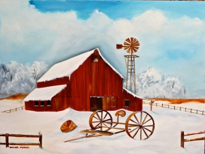 Barn Windmill 18 x 24 -Serene Winter-$300