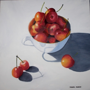 Cherries 24 x 24 -Life is a Bowl of Cherries $450
